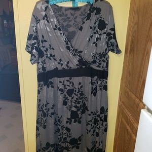 Grey, Black and Silver Lane Bryant Midi Dress